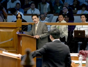 Senator Manny Pacquiao delivers his first privilege speech today, August 8, 2016. Pacquiao filed 3 Senate bills on the re-imposition of death penalty in the Philippines. The neophyte senator was interpellated by Senators Sotto, De Lima, Villanueva, Hontiveros and Pangilinan.(MNS photo)