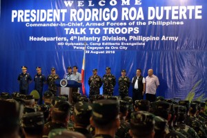 President Rodrigo R. Duterte delivers his speech to the soldiers of 4th Infantry Division at Camp Edilberto Evangelista in Patag, Cagayan de Oro City on August 9.(MNS photo)