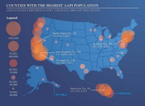 The U.S. AAPI population is concentrated in counties on the West Coast and in the Northeast. Graphic courtesy of the White House Initiative on Asian Americans and Pacific Islanders. Graphic courtesy of The White House Initiative On Asian Americans And Pacific Islanders