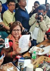 """As I have often said, I will not dignify any further this so-called drug matrix which, any ordinary lawyer knows too well, properly belongs to the garbage can,"" Sen. Leila De Lima, who is linked by President Rodrigo Duterte himself to illegal drugs trade, tells reporters."