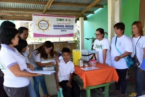 Immunization now school-based in Malapatan, Sarangani (August 16, 2016) - Barangay health workers and staff from the Provincial Health Office conduct school-based immunization at Lun Padidu National High School Tuesday, August 16, as part of the celebration of the Adolescent Health Month. Combination of Measles Rubella (MR) and Tetanus-diphtheria vaccines were administered to Grade 1 and Grade 7 students to all public schools in Sarangani, while vaccines for Human Papillomavirus (HPV) were given to ages 9-13 in barangay health centers. (Jake T. Narte/Sarangani Information Office)