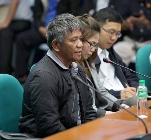 Witness Edgar Motabato appears before the Senate Committee on Justice's probe on the alleged rampant extrajudicial killings and summary executions of suspected criminals. (MNS photo)