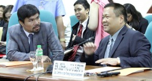 - Sen. Joseph Victor G. Ejercito (right), chair of the Senate Committee on Urban Planning, Housing and Resettlement, discusses proposals seeking to establish the Department of Housing and Urban Development during a Senate hearing, Tuesday morning, August 30, 2016. Ejercito said the department will be tasked to monitor all housing and urban development concerns, as well as consolidate, rationalize and coordinate the functions and powers of all housing-related agencies. Sen. Manny Pacquiao also attended the hearing.(MNS photo)