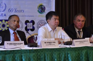 """Senate President Aquilino """"Koko"""" Pimentel III (middle) discusses to the media how Congress will play an important role if the country decides to shift to nuclear power, during the Conference on the Prospects for Nuclear Power in the Asia-Pacific Region organized by the International Atomic Energy Agency (IAEA) on Tuesday, August 30, 2016 at the Diamond Hotel, City of Manila. """"Because of the huge expenditure involved, plus the controversial nature of the decision, I believe that we need a law to be in place before we can pursue nuclearization of our energy sector,"""" he said. Also in photo are Energy Secretary Alfonso Cusi (left) and IAEA Deputy Director General and Head of the Department of Nuclear Energy Mikhail Chudakov (right). (MNS photo)"""