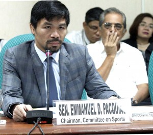 "Senator Manny Pacquiao, chair of the Senate Committee on Sports, discusses a proposal which seek to establish the Philippine Boxing Commission. ""Considering the growing popularity of this sport and the number of champions it has produced for the country, it is about time that we give attention and consideration to this sport and to all our professional boxing champions,"" Pacquiao said.(MNS photo)"