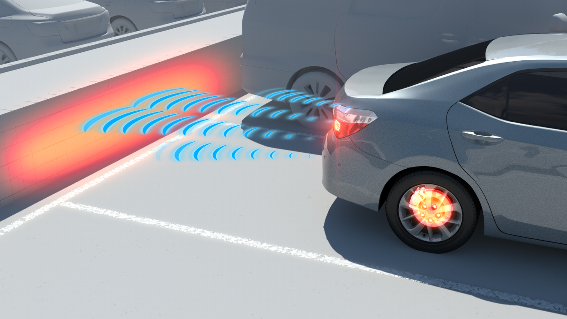 Pedal misapplication and vehicle reversing accidents in parking spaces have been significantly reduced by Intelligent Clearance Sonar.
