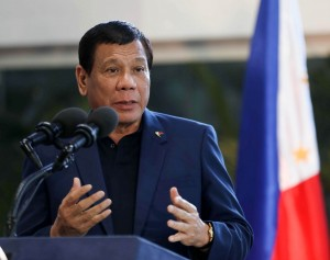 President Rodrigo Roa Duterte stresses that those who sow terror will receive a harsh response during his speech upon arriving at the Ninoy Aquino International Airport (NAIA) Terminal 2 on Wednesday (May 24, 2017). A day earlier, President Duterte declared Martial law in Mindanao and had to cut short his official visit to the Russian Federation to oversee the terror crisis which erupted in Marawi City. He also thanked Russia President Vladimir Putin and the Russian government for giving the Philippine delegation a warm welcome in Moscow. (MNS photo)